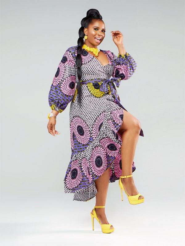ADAOMA AFRICAN PRINT WRAP DRESS
